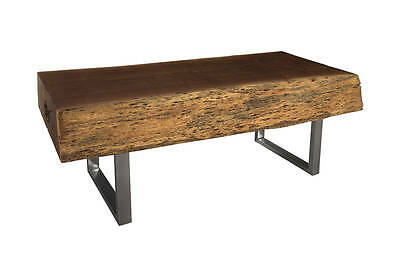 "88"" Teak Wood Solid Slab Freeform Live Edge Dining Table Stainless Steel Legs"