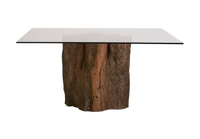 "50"" Exotic Acacia Freeform tree stump Dining Table Base Steel Risers round glass"
