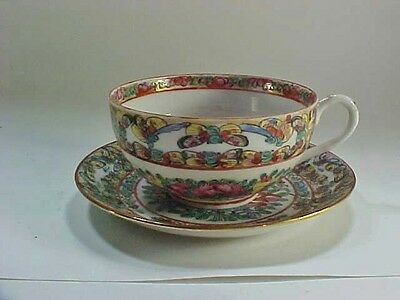 Chinese Rose Medallion Cup & Saucer, Flowers and Butterflies