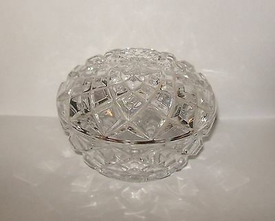 Vintage Diamond-Cut Clear Glass / Crystal Lidded Dish