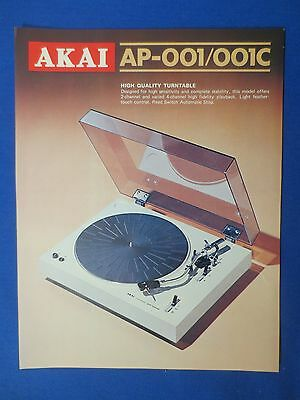 Akai Ap-001 C Turntable Sales Brochure Original Factory Issue The Real Thing