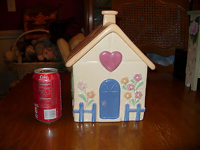 SPRINGTIME COTTAGE HEART HOUSE Ceramic Cookie Jar1987 Made in USA