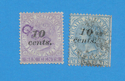STRAITS SETTLEMENTS - sc 33-34, SG 44-45 used 10 ct on 6 ct & 10 ct on 12 ct