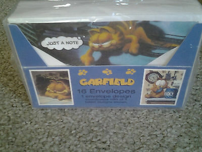 GARFIELD pack 16 VINTAGE STATIONERY ENVELOPES by MEAD CORP factory sealed MINT!!