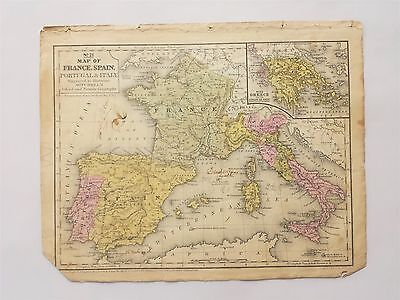 1846 antique MAP of FRANCE SPAIN PORTUGAL ITALY GREECE buchanan MITCHELL'S ATLAS