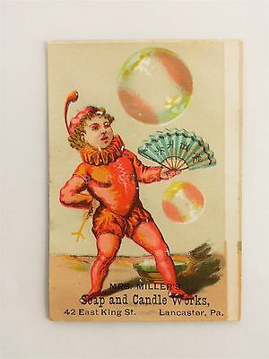 1880s antique MRS MILLER SOAP & CANDLE WORKS lancaster pa VICTORIAN TRADE CARD