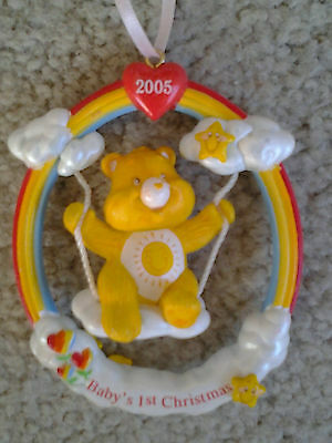 CARE BEARS BABY'S FIRST CHRISTMAS RAINBOW SWING HANGING ORNAMENT from 2005 HTF!