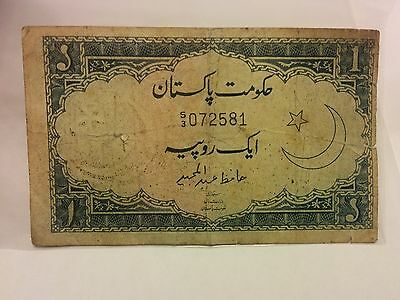 Vintage Pakistan 1 Rupee w/3rd issue on1953 Banknote Signed by Hafiz Abdul Majid