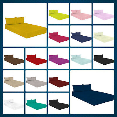 Soft Plain Dyed Polycotton Fitted Bed Sheets Available In All Sizes Pillowcases