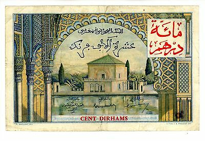 Morocco ... P-52 ... 100 Dirhams on 10000 Francs ... 1959(Old date 1955) ..*F++*