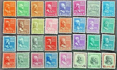 U.S.Stamp:Scott#803-834, 1/2c-$5.00, The Presidential issues of 1938, OGHR