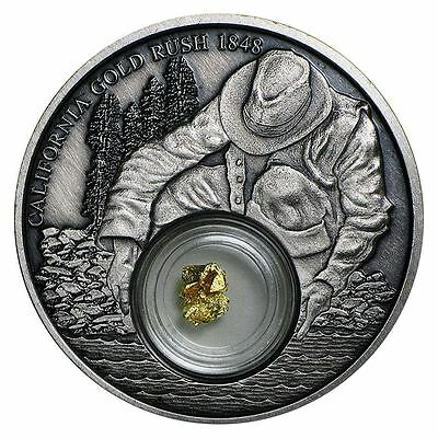 2016 Niue - Gold Rush - 1 oz Silver Antiqued Proof - 24k Gold Leaf