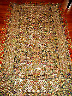 Antique Cherub Tapestry 73x43 Fringe Elegant Warm Gold 2lbs Textile Art Drape
