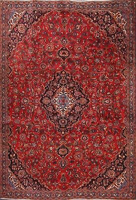 """Traditional Hand Knotted Red 7x11 Mashad Persian Oriental Area Rug 10' 7"""" x 7' 2"""