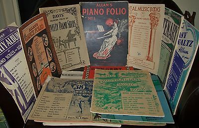 16 x LGE VINTAGE SHEET MUSIC BOOKS MOSTLY PIANO/PIANOFORTE early to mid 1900's