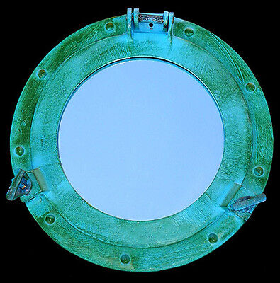 "Aluminum Green Patina Style Porthole/Mirror Replica ~11""~ Nautical Decor   ~"