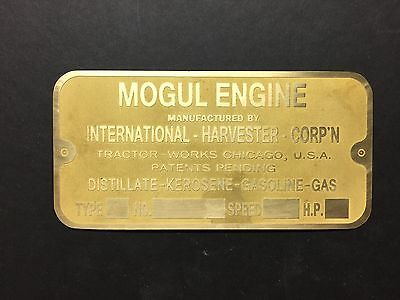 NEW IHC Mogul Etched Brass Tag for Antique Sideshaft Engine Hit And Miss