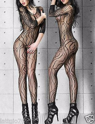 Bodystocking sexy lingerie intimo donna rete catsuit body hot tutina DS79435