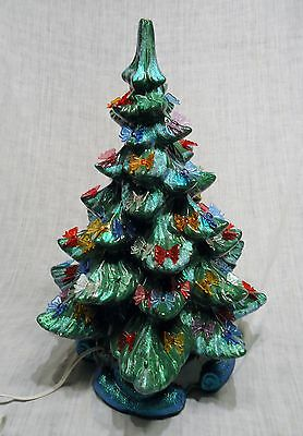 Dark Green Ceramic Christmas Tree w/ Ribbon Bow Ornaments 16 Inches Tall