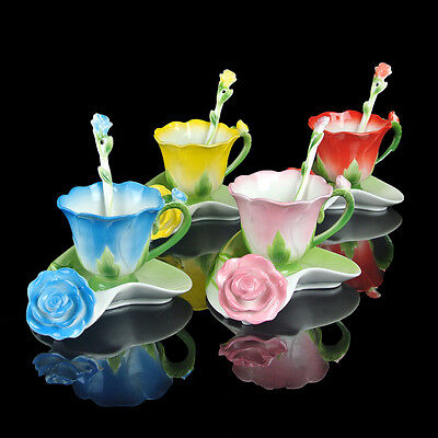 4 Colors Porcelain Rose Coffee Expresso Set Tea Set Milk Cup Saucer Spoon Gift