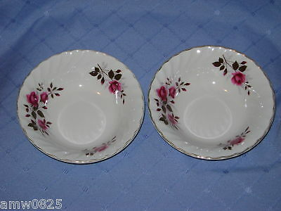 """2 Vintage Ridgway Fragrance Soup Cereal Bowls Red Roses 6 1/2"""" Ironstone England"""