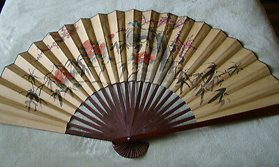 """Paper Wall Fan Hand Painted Vintage Oriental Asian  30""""x 54"""" LARGE @1"""