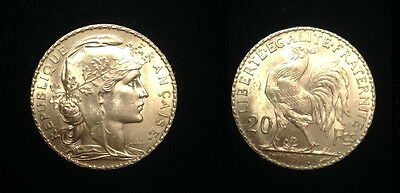 French Rooster 20 Gold Franc 1910-AUTHENTIC DATE-PRE WW-I GEM B.U. LUSTROUS COIN