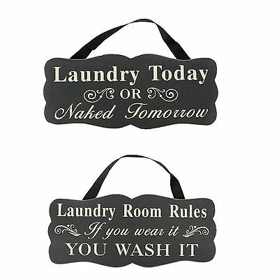 Wooden Vintage Style Block Words Wall Sign Plaque Hanging Décor - Laundry