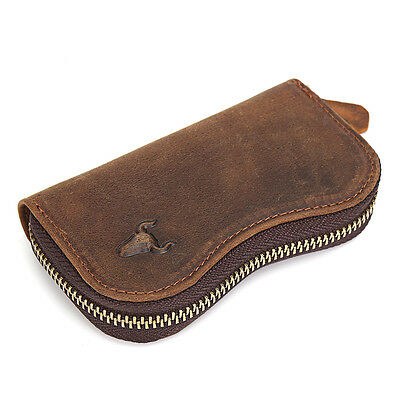 Men's Cowhide Leather Car Key Holder Zippered Wallet ID Card Coin Holder Purse