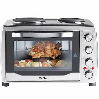 2700W Mini Oven 36 Litres Double Hob Hot Plate Rotisserie Silver Convection