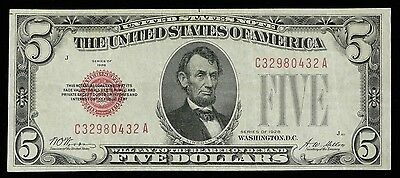 $5 1928 RED SEAL FIVE DOLLAR EXTREMELY FINE Legal Tender Note