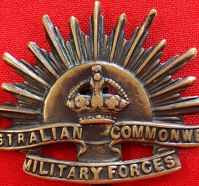 Vintage & Rare Ww1 Australian Army Rising Sun Cap Badge Anzac Light Horse*