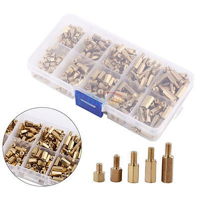 300Pc M3 Brass Hex Standoff Spacer Fastener Screw Nut Assortment Kit Box Durable