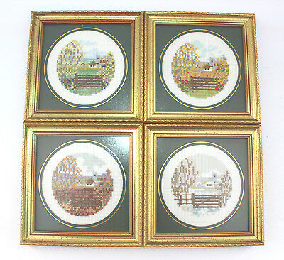 4 framed completed cross stitch pictures 4 seasons Church scene Non reflect  B33