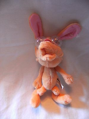 """Rare  Nicktoons  7"""" Ren And Stimpy Soft Toy With Googly Eyes"""