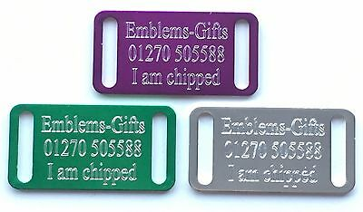 Personalised Engraved Collar Slider Cat / Dog ID Pet Tag