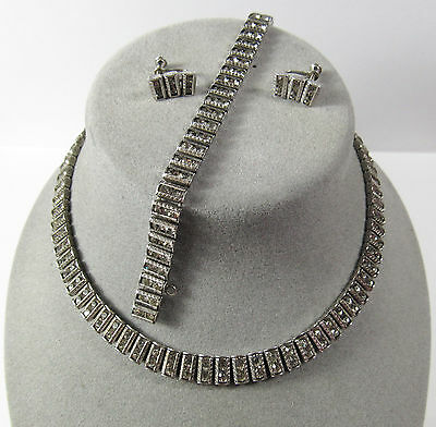 Art Deco Sterling Silver Necklace Bracelet Earrings Set Parure Catamore Catamor