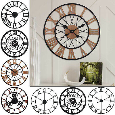 Giant Round Black Outdoor Garden Wall Clock Big Roman Numerals Open Face Metal