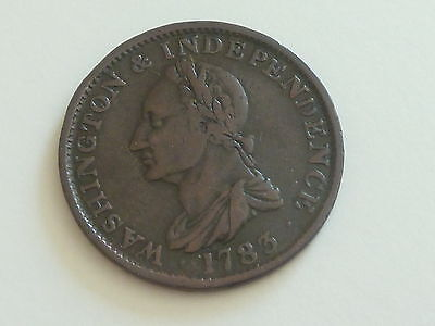 Rare 1783 Washington & Independence Draped Bust With Button Colonial Coin