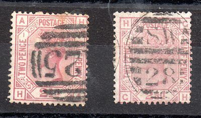 GB QV 2 1/2d rosy mauve SG139 Plates 1 and 3 used WS2776