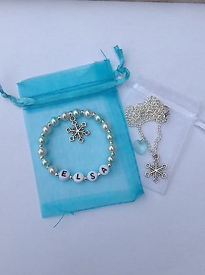 Disney Frozen inspired Elsa bracelet and necklace set - Personalised - party bag