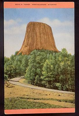 Devil's Tower National Monument Wyoming WY Vintage Postcard