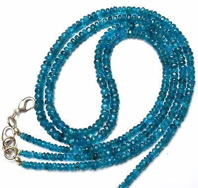 "Natural Gem Neon Blue Apatite Facet 4-5MM Rondelle Beads 16"" Finished Necklace"