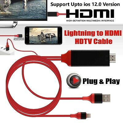 1080p 8 Pin Lightning to HDMI TV AV 2M Cable Adapter for iPhone 7 6 5 iPad UK