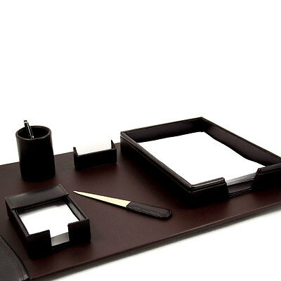 6 pc Brown Genuine Leather Desk Set pad pen card holder