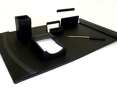 Bey Berk 6 pc Black Genuine Leather Desk Set pad pen card holder