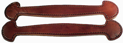Set of 2 Brown double and stitched Leather Steamer trunk handles