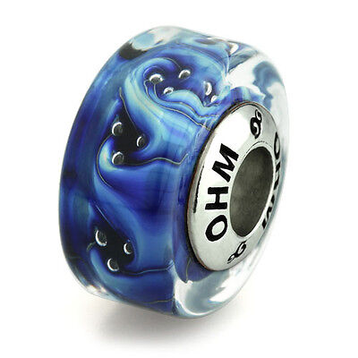 Sterling Silver Waterfall Glass Ohm Bead Charm AMV039