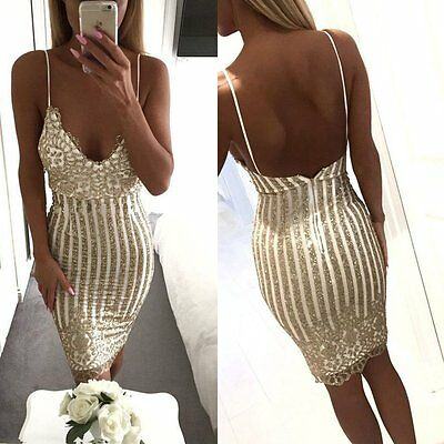Womens Spaghetti Strap V Neck Sequins Sleeveless Bodycon Party Cocktail Dress