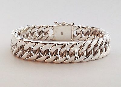 "8.5"" 76g HEAVY CUBAN DOUBLE CURB CHAIN LINK 925 STERLING SILVER MENS BRACELET"